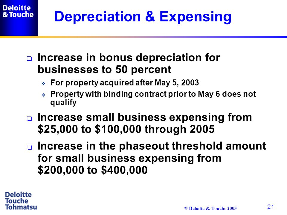 © Deloitte & Touche 2003 21 Depreciation & Expensing q Increase in bonus depreciation for businesses to 50 percent  For property acquired after May 5