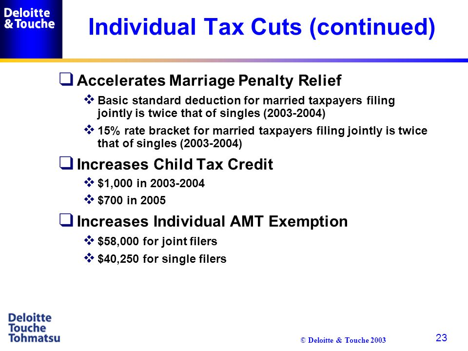 © Deloitte & Touche 2003 23 Individual Tax Cuts (continued) q Accelerates Marriage Penalty Relief  Basic standard deduction for married taxpayers fil