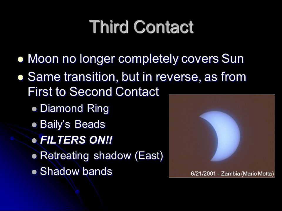 Third Contact Moon no longer completely covers Sun Moon no longer completely covers Sun Same transition, but in reverse, as from First to Second Contact Same transition, but in reverse, as from First to Second Contact Diamond Ring Diamond Ring Baily's Beads Baily's Beads FILTERS ON!.