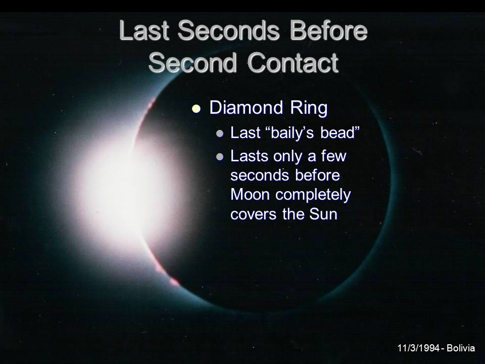 Last Seconds Before Second Contact Diamond Ring Diamond Ring Last baily's bead Last baily's bead Lasts only a few seconds before Moon completely covers the Sun Lasts only a few seconds before Moon completely covers the Sun 11/3/1994 - Bolivia