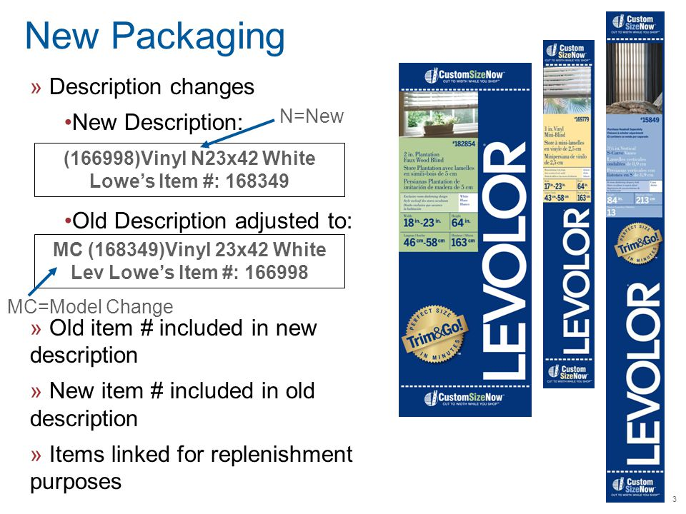 3 New Packaging » Description changes New Description: Old Description adjusted to: » Old item # included in new description » New item # included in old description » Items linked for replenishment purposes (166998)Vinyl N23x42 White Lowe's Item #: 168349 MC (168349)Vinyl 23x42 White Lev Lowe's Item #: 166998 N=New MC=Model Change