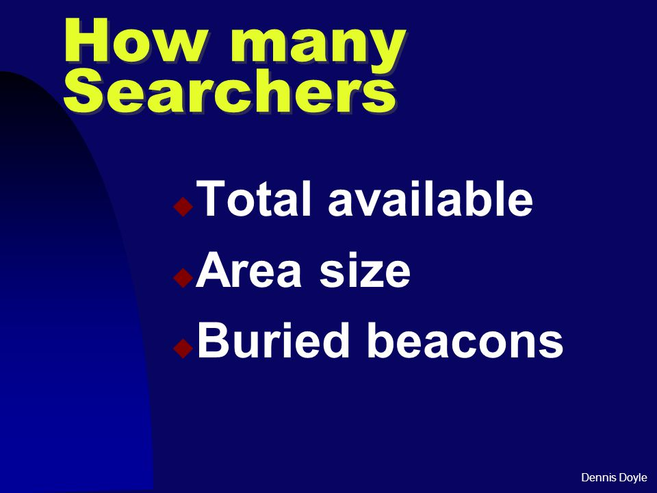 Dennis Doyle How many Searchers  Total available  Area size  Buried beacons