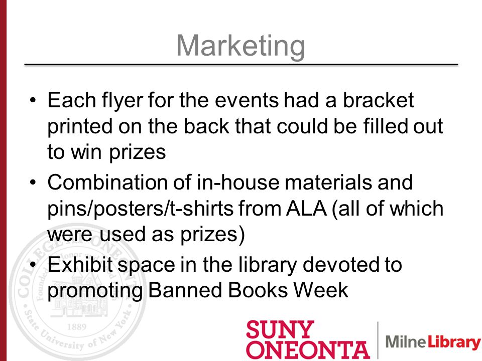 Each flyer for the events had a bracket printed on the back that could be filled out to win prizes Combination of in-house materials and pins/posters/t-shirts from ALA (all of which were used as prizes) Exhibit space in the library devoted to promoting Banned Books Week