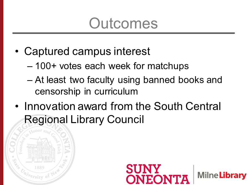 Outcomes Captured campus interest –100+ votes each week for matchups –At least two faculty using banned books and censorship in curriculum Innovation award from the South Central Regional Library Council