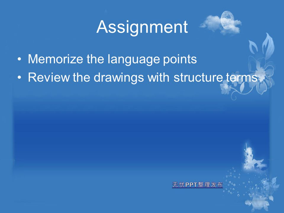 Assignment Memorize the language points Review the drawings with structure terms