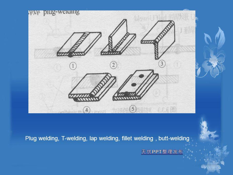 Plug welding, T-welding, lap welding, fillet welding, butt-welding