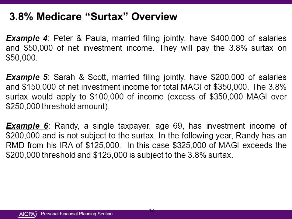 Personal Financial Planning Section 12 Example 4: Peter & Paula, married filing jointly, have $400,000 of salaries and $50,000 of net investment income.
