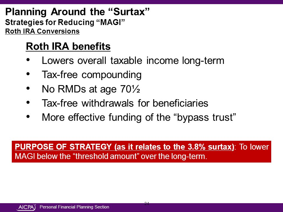 Personal Financial Planning Section 24 Roth IRA benefits Lowers overall taxable income long-term Tax-free compounding No RMDs at age 70½ Tax-free withdrawals for beneficiaries More effective funding of the bypass trust PURPOSE OF STRATEGY (as it relates to the 3.8% surtax): To lower MAGI below the threshold amount over the long-term.