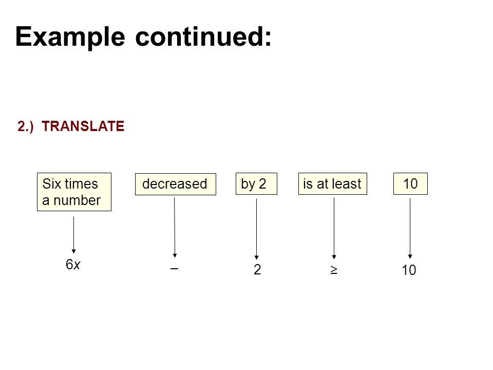 decreased – Six times a number 6x6x by 2 2 is at least ≥ 10 Example continued: 2.) TRANSLATE