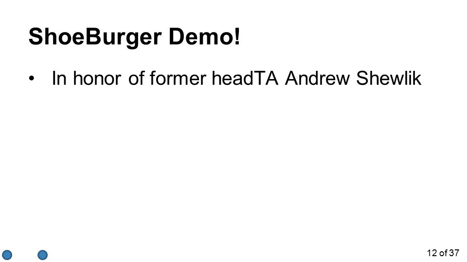 12 of 37 ShoeBurger Demo! In honor of former headTA Andrew Shewlik