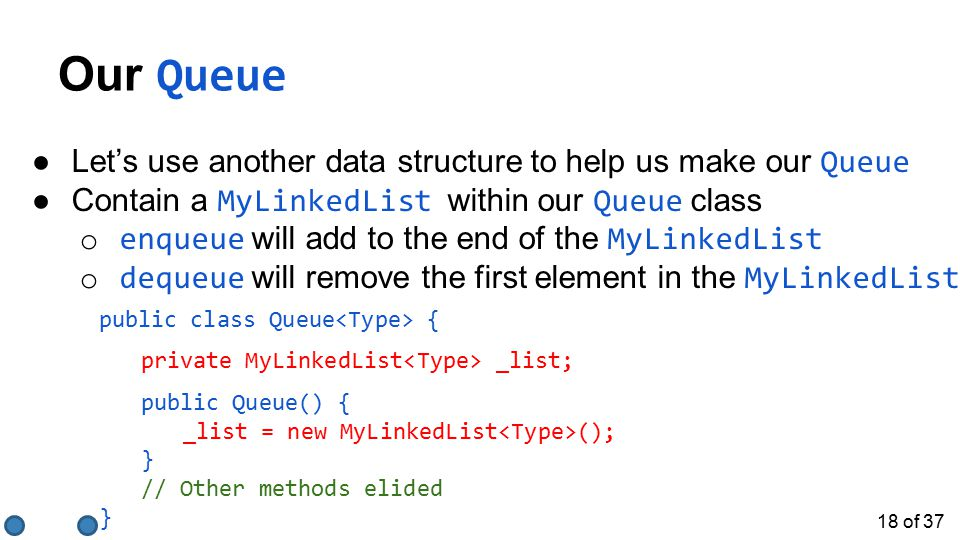 18 of 37 Our Queue ●Let's use another data structure to help us make our Queue ●Contain a MyLinkedList within our Queue class o enqueue will add to the end of the MyLinkedList o dequeue will remove the first element in the MyLinkedList public class Queue { private MyLinkedList _list; public Queue() { _list = new MyLinkedList (); } // Other methods elided }