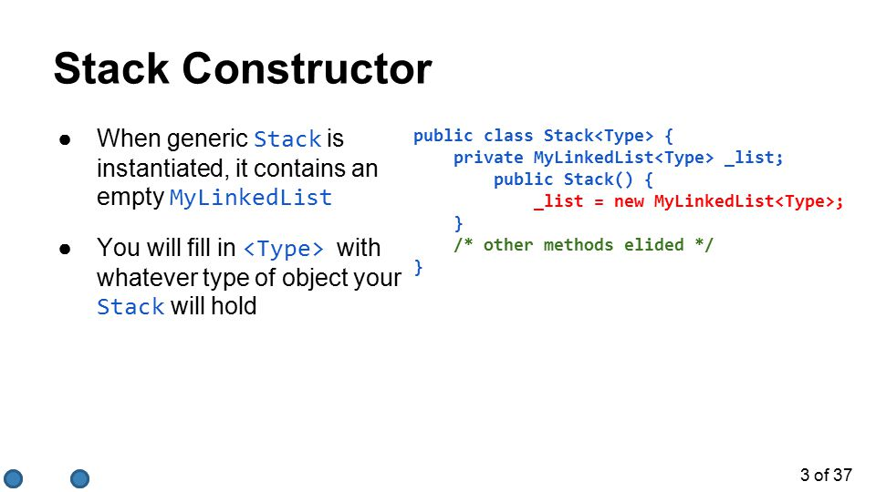 4 of 37 Methods of a Stack Add element to top of stack Remove element from top of stack.