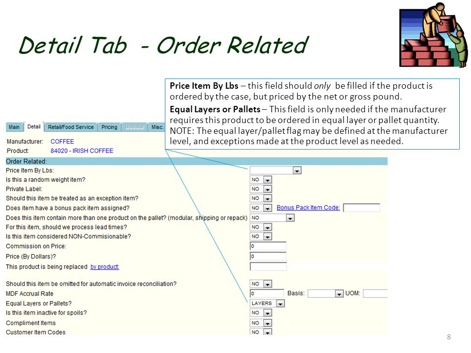 Detail Tab - Order Related 8 Price Item By Lbs – this field should only be filled if the product is ordered by the case, but priced by the net or gross pound.