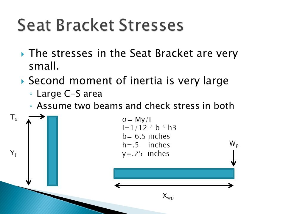  The stresses in the Seat Bracket are very small.