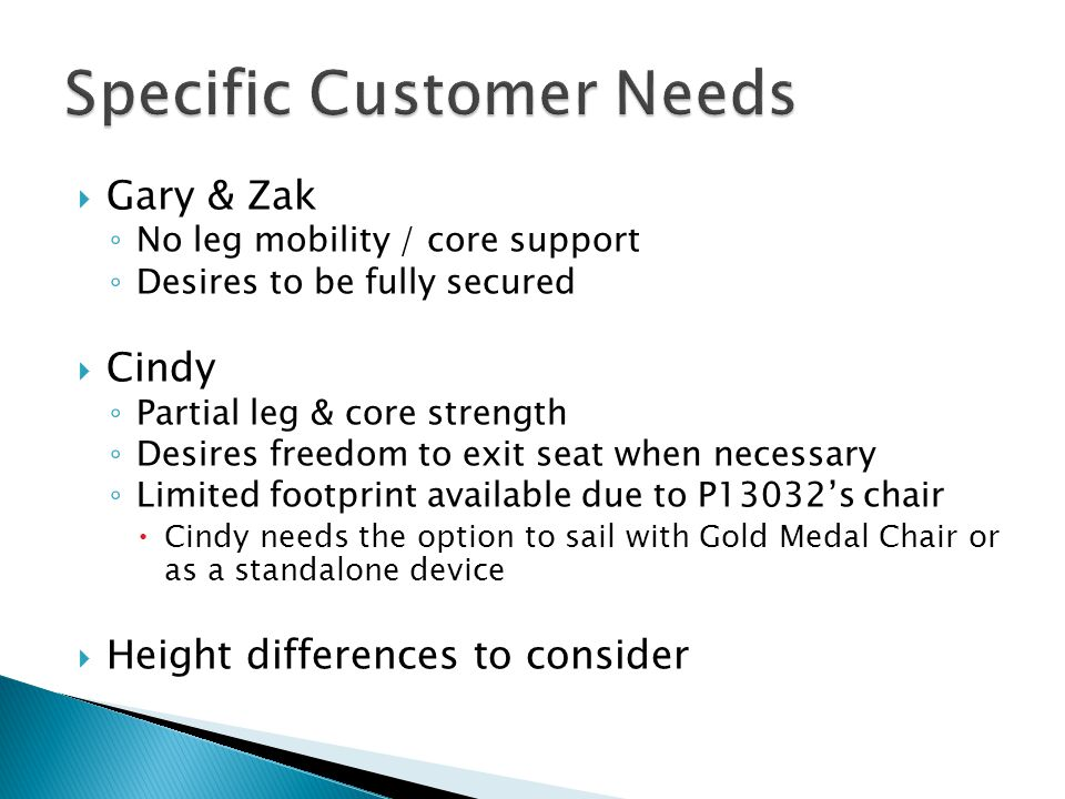  Gary & Zak ◦ No leg mobility / core support ◦ Desires to be fully secured  Cindy ◦ Partial leg & core strength ◦ Desires freedom to exit seat when necessary ◦ Limited footprint available due to P13032's chair  Cindy needs the option to sail with Gold Medal Chair or as a standalone device  Height differences to consider
