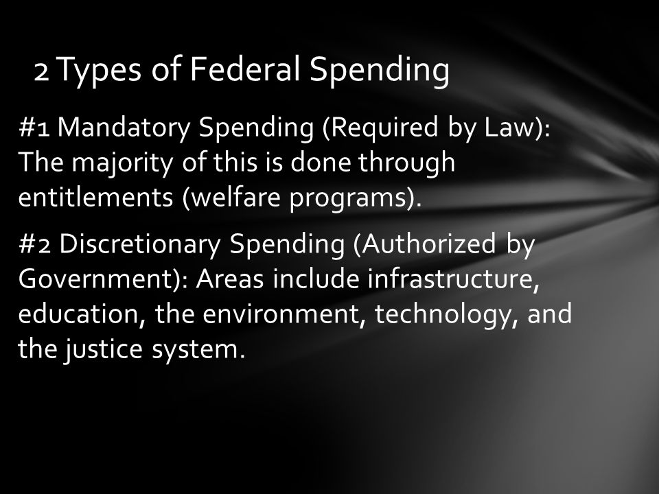 #1 Mandatory Spending (Required by Law): The majority of this is done through entitlements (welfare programs).