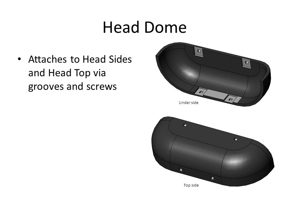 Head Dome Attaches to Head Sides and Head Top via grooves and screws Under side Top side