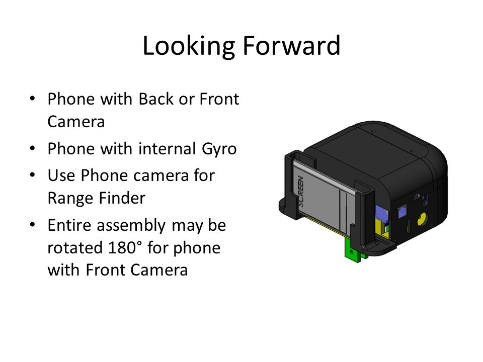Looking Forward Phone with Back or Front Camera Phone with internal Gyro Use Phone camera for Range Finder Entire assembly may be rotated 180° for pho