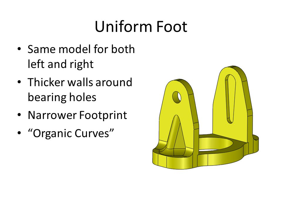 Uniform Foot Same model for both left and right Thicker walls around bearing holes Narrower Footprint Organic Curves