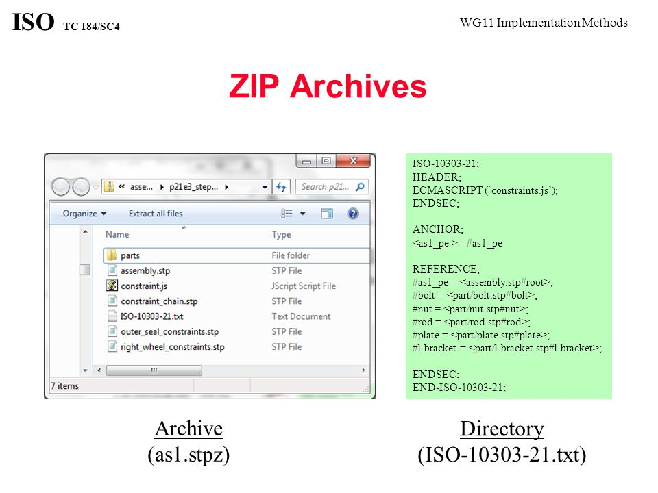 WG11 Implementation Methods ISO TC 184/SC4 Multi-File References Anchor can be referenced from other file types Reference can be to another file type Reference format resolved by protocols and mime types ANCHOR; = #100;/* Can be referenced from JT or XML */ ENDSEC;/* E.g.