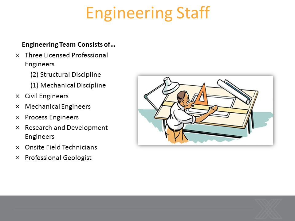 Engineering Team Consists of… ×Three Licensed Professional Engineers (2) Structural Discipline (1) Mechanical Discipline ×Civil Engineers ×Mechanical Engineers ×Process Engineers ×Research and Development Engineers ×Onsite Field Technicians ×Professional Geologist Engineering Staff