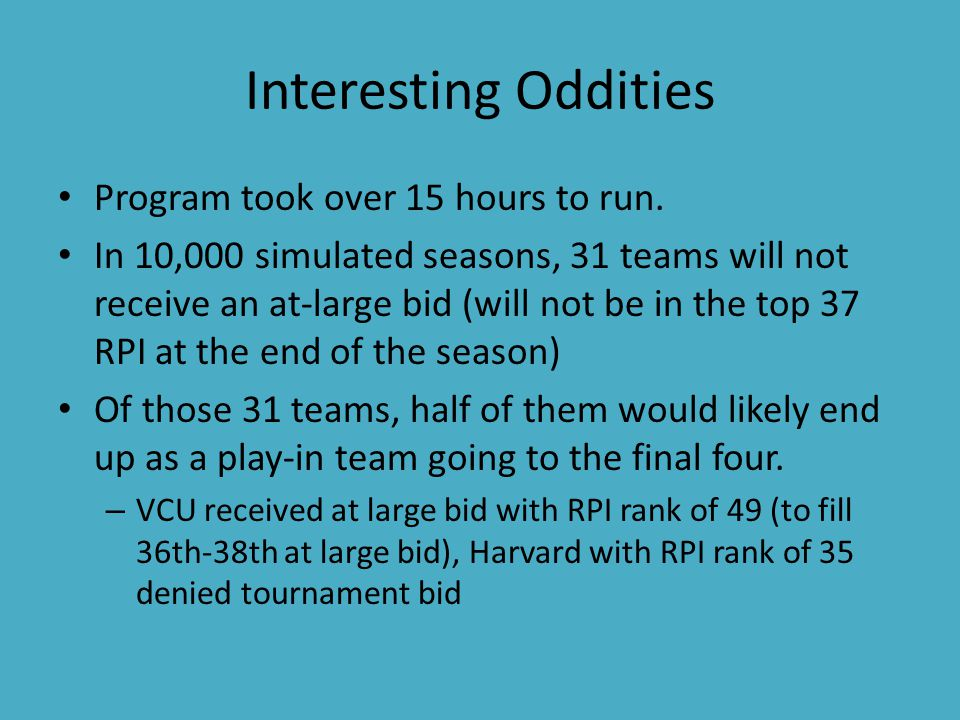 Interesting Oddities Program took over 15 hours to run.