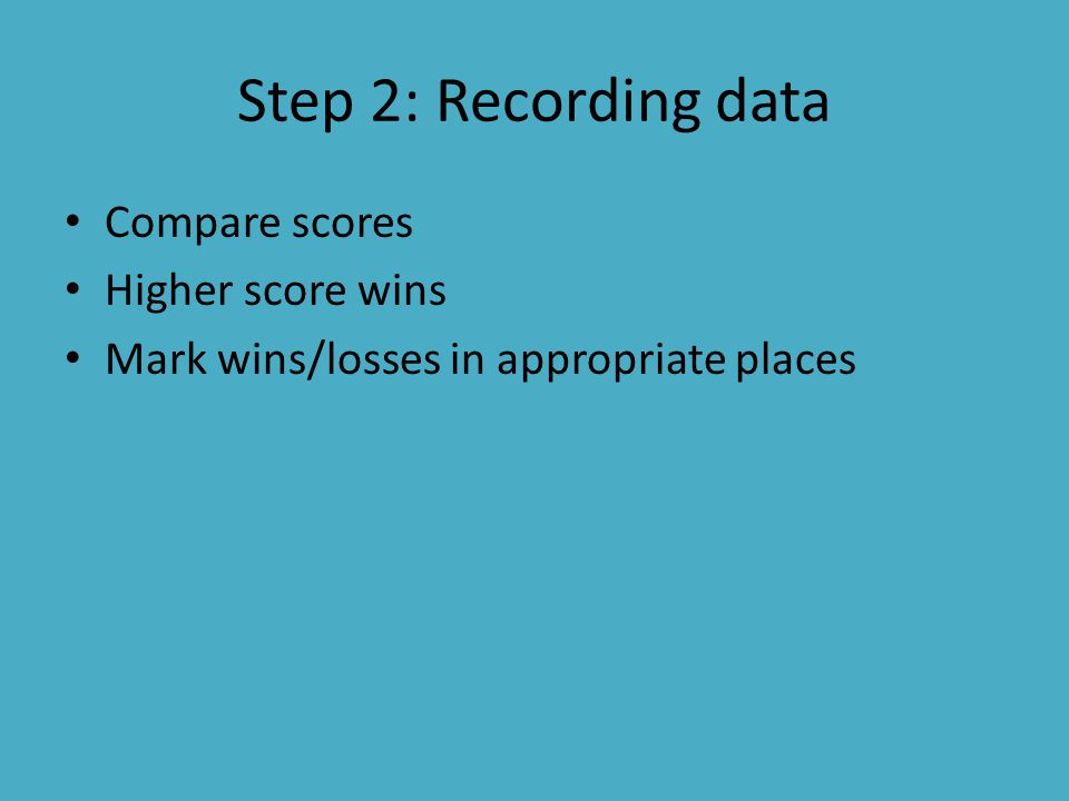 Step 2: Recording data Compare scores Higher score wins Mark wins/losses in appropriate places