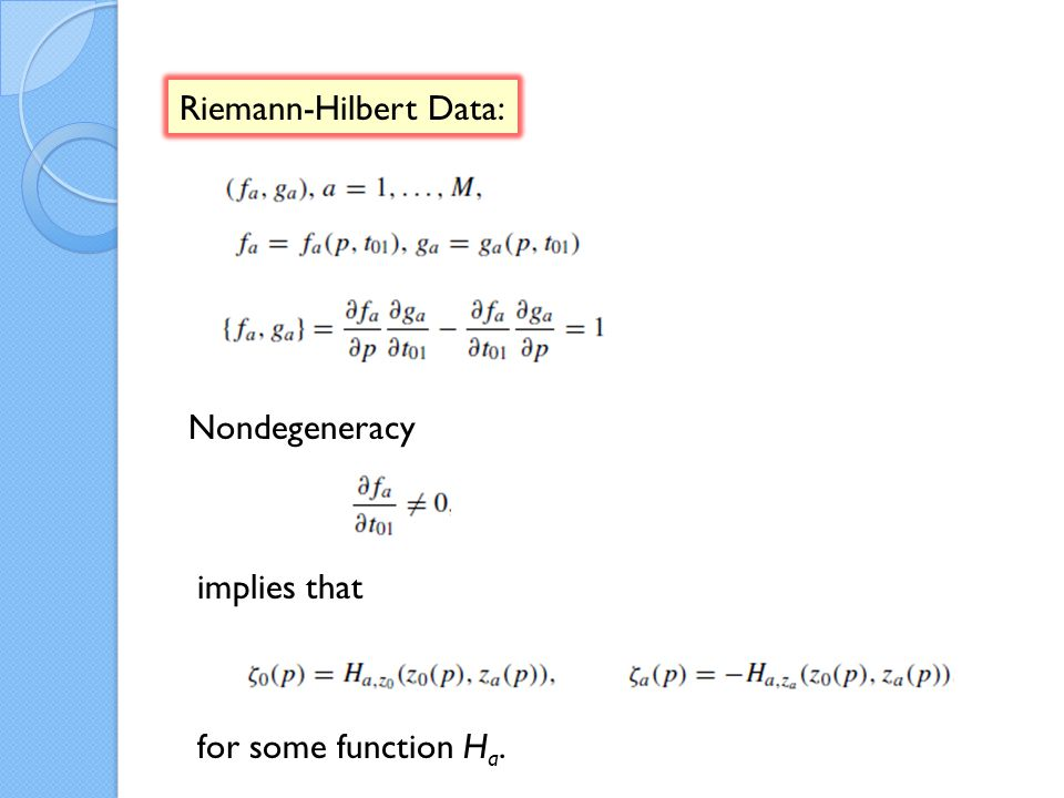 Riemann-Hilbert Data: Nondegeneracy implies that for some function H a.