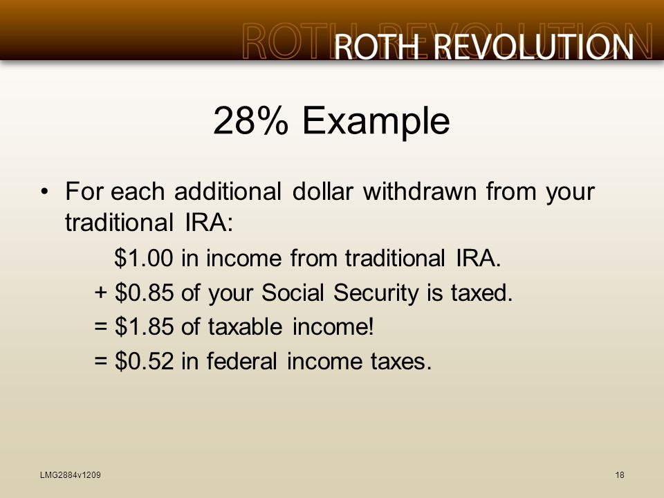 28% Example For each additional dollar withdrawn from your traditional IRA: $1.00 in income from traditional IRA.