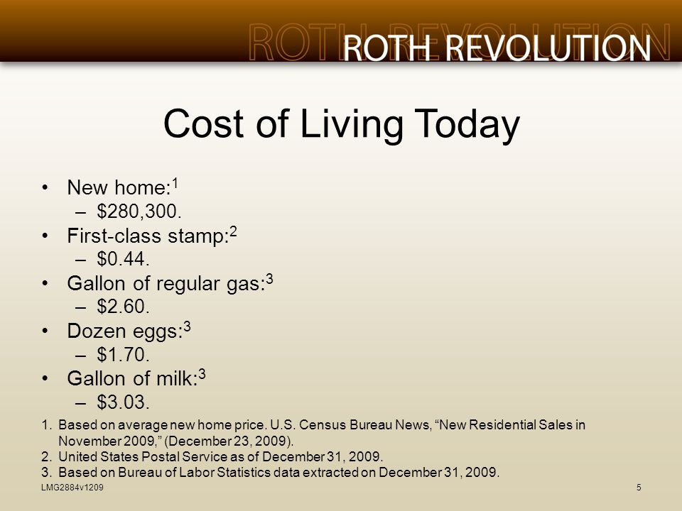 Cost of Living Today New home: 1 –$280,300. First-class stamp: 2 –$0.44.