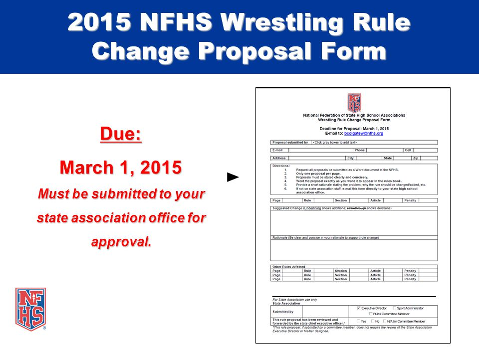 Due: March 1, 2015 Must be submitted to your state association office for approval.