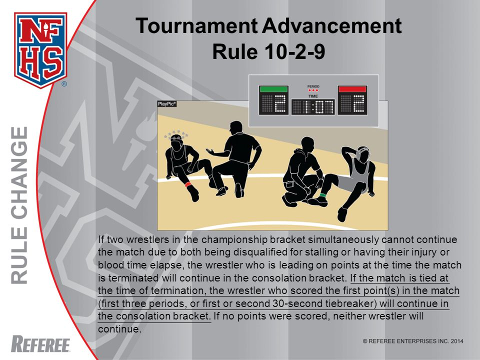 Tournament Advancement Rule 10-2-9 If two wrestlers in the championship bracket simultaneously cannot continue the match due to both being disqualified for stalling or having their injury or blood time elapse, the wrestler who is leading on points at the time the match is terminated will continue in the consolation bracket.