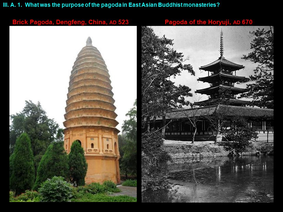 III. A. 1. What was the purpose of the pagoda in East Asian Buddhist monasteries.