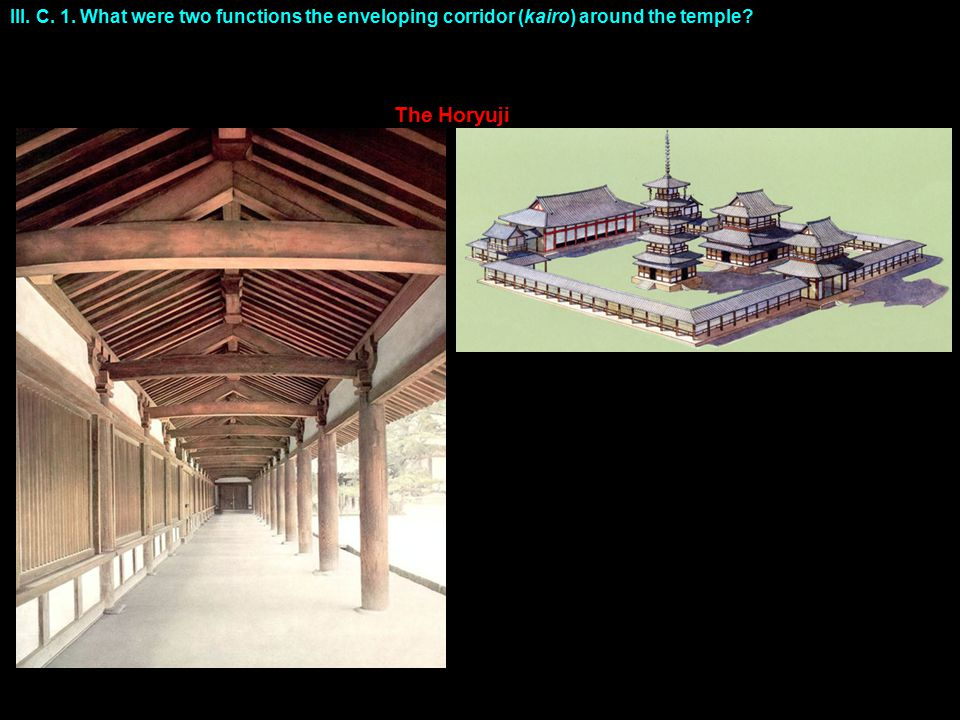 III. C. 1. What were two functions the enveloping corridor (kairo) around the temple The Horyuji