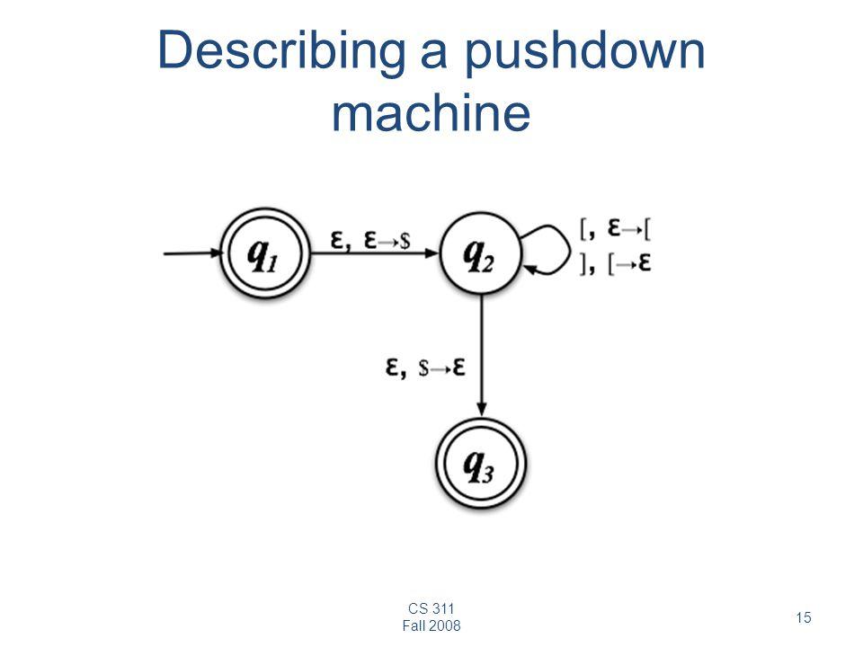 CS 311 Fall 2008 15 Describing a pushdown machine