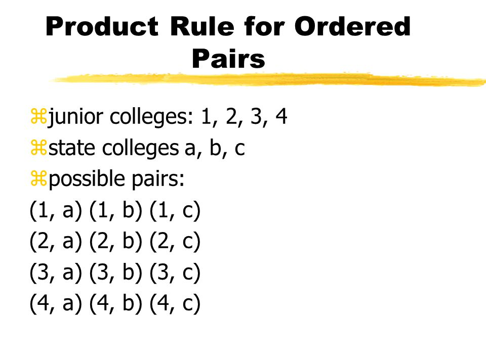 Product Rule for Ordered Pairs zjunior colleges: 1, 2, 3, 4 zstate colleges a, b, c zpossible pairs: (1, a) (1, b) (1, c) (2, a) (2, b) (2, c) (3, a) (3, b) (3, c) (4, a) (4, b) (4, c)