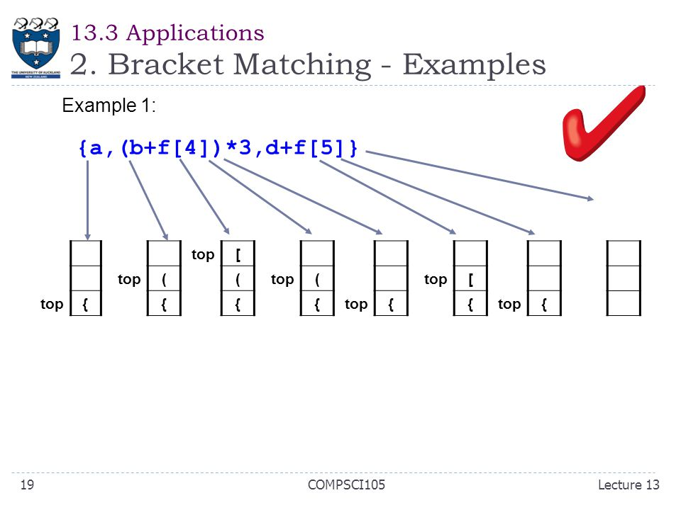 13.3 Applications 2. Bracket Matching - Examples Example 1: {a,(b+f[4])*3,d+f[5]} top{ ( { [ ( { ( { { [ { { Lecture 13COMPSCI10519