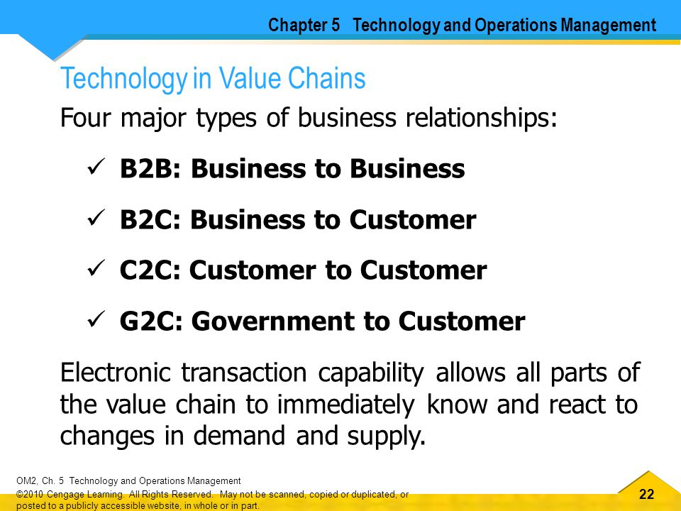 22 OM2, Ch.5 Technology and Operations Management ©2010 Cengage Learning.