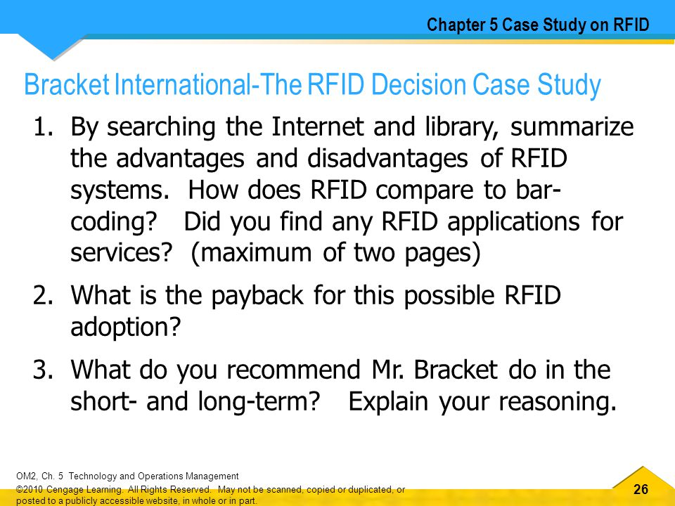 26 OM2, Ch.5 Technology and Operations Management ©2010 Cengage Learning.
