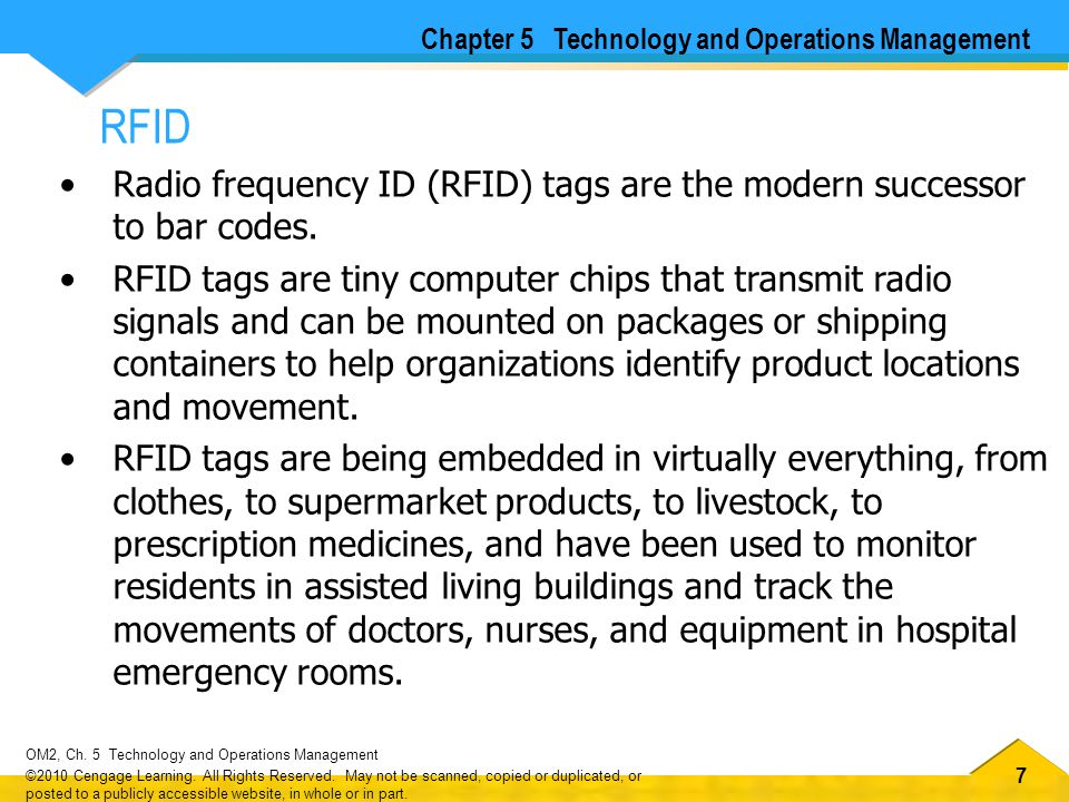 77 OM2, Ch.5 Technology and Operations Management ©2010 Cengage Learning.