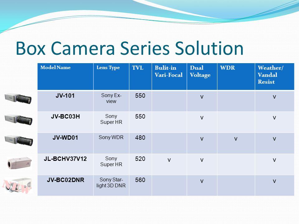 Box Camera Series Solution Model NameLens Type TVLBulit-in Vari-Focal Dual Voltage WDRWeather/ Vandal Resist JV-101 Sony Ex- view 550 vv JV-BC03H Sony Super HR 550 vv JV-WD01 Sony WDR 480 vvv JL-BCHV37V12 Sony Super HR 520 vvv JV-BC02DNR Sony Star- light 3D DNR 560 vv
