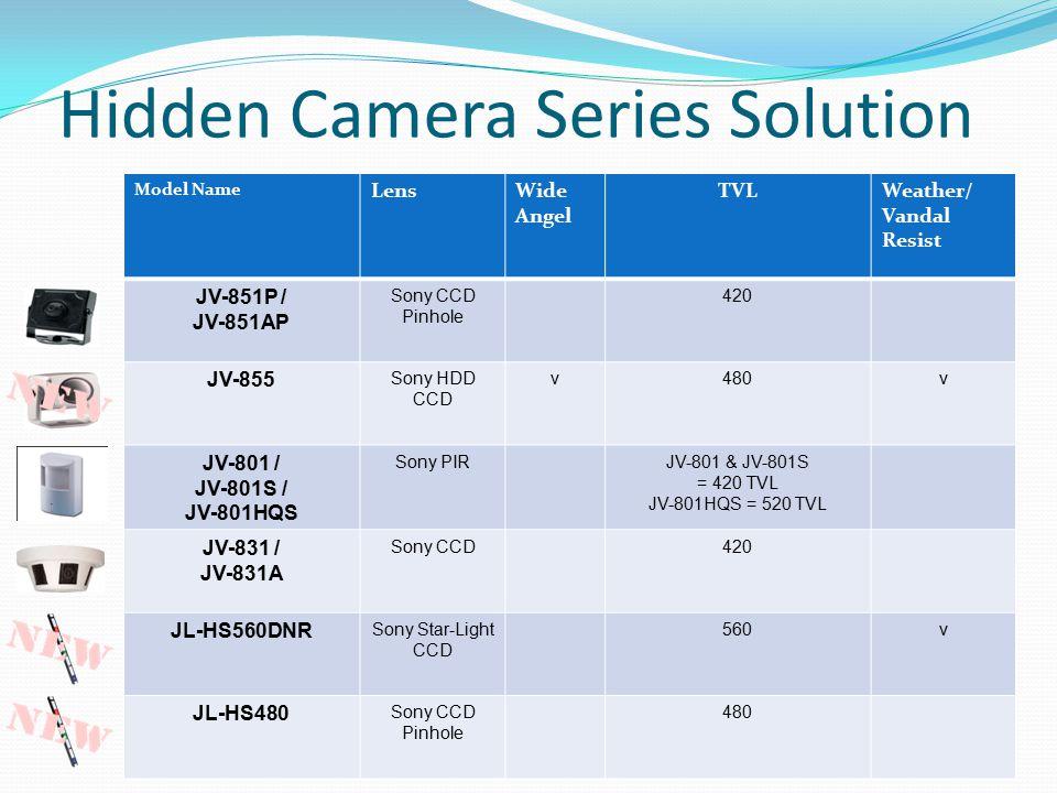 Hidden Camera Series Solution Model Name LensWide Angel TVLWeather/ Vandal Resist JV-851P / JV-851AP Sony CCD Pinhole 420 JV-855 Sony HDD CCD v480v JV-801 / JV-801S / JV-801HQS Sony PIRJV-801 & JV-801S = 420 TVL JV-801HQS = 520 TVL JV-831 / JV-831A Sony CCD420 JL-HS560DNR Sony Star-Light CCD 560v JL-HS480 Sony CCD Pinhole 480