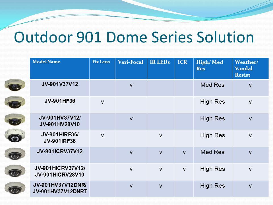 Outdoor 901 Dome Series Solution Model NameFix Lens Vari-FocalIR LEDsICRHigh/ Med Res Weather/ Vandal Resist JV-901V37V12 vMed Resv JV-901HF36 vHigh Resv JV-901HV37V12/ JV-901HV28V10 vHigh Resv JV-901HIRF36/ JV-901IRF36 vvHigh Resv JV-901ICRV37V12 vvvMed Resv JV-901HICRV37V12/ JV-901HICRV28V10 vvvHigh Resv JV-901HV37V12DNR/ JV-901HV37V12DNRT vvHigh Resv