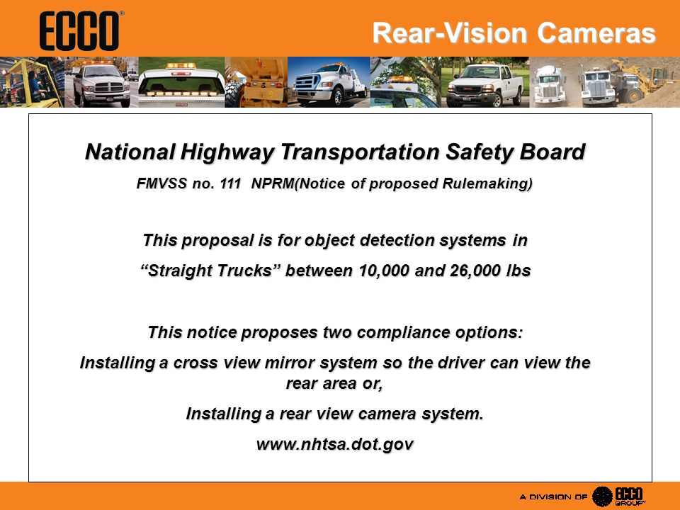 National Highway Transportation Safety Board FMVSS no.