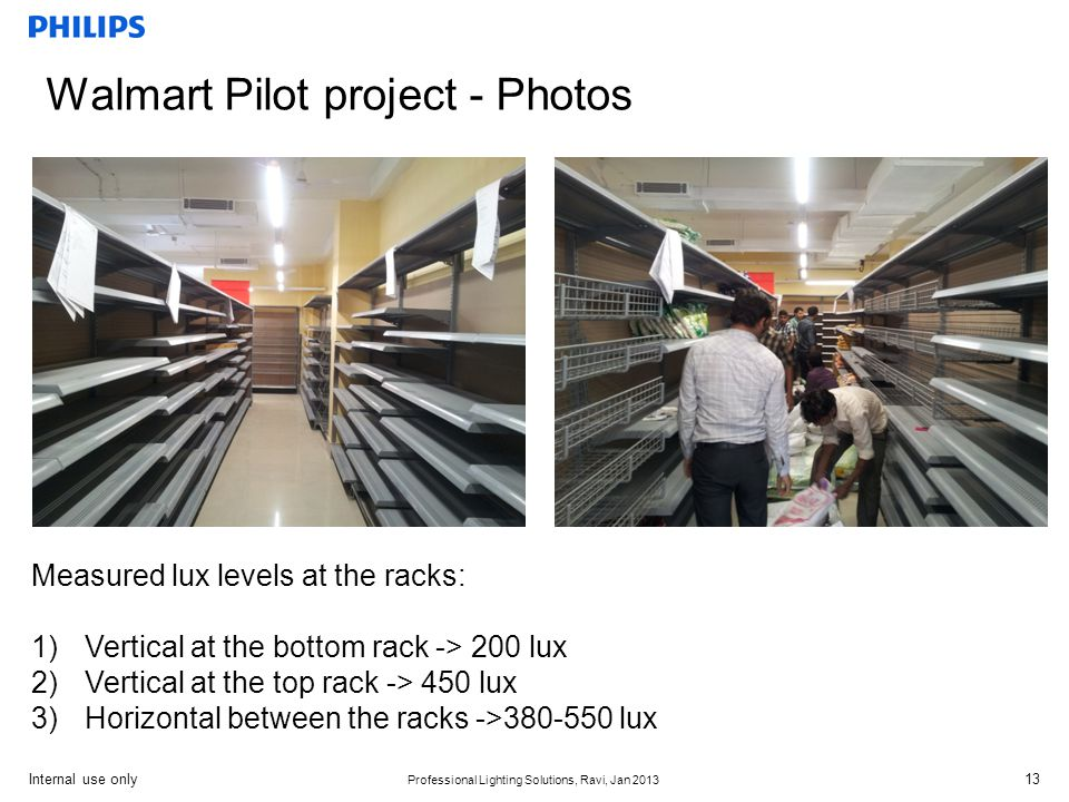 Internal use only Professional Lighting Solutions, Ravi, Jan 2013 Walmart Pilot project - Photos Measured lux levels at the racks: 1)Vertical at the bottom rack -> 200 lux 2)Vertical at the top rack -> 450 lux 3)Horizontal between the racks ->380-550 lux 13