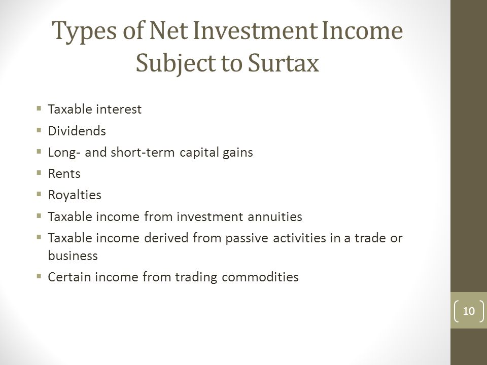 Types of Net Investment Income Subject to Surtax  Taxable interest  Dividends  Long- and short-term capital gains  Rents  Royalties  Taxable income from investment annuities  Taxable income derived from passive activities in a trade or business  Certain income from trading commodities 10