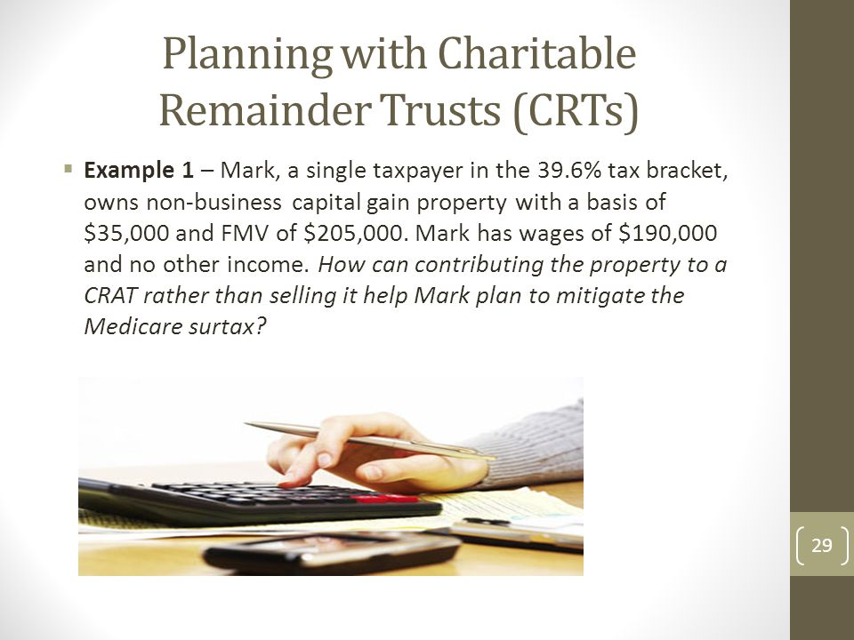 Planning with Charitable Remainder Trusts (CRTs)  Example 1 – Mark, a single taxpayer in the 39.6% tax bracket, owns non-business capital gain property with a basis of $35,000 and FMV of $205,000.