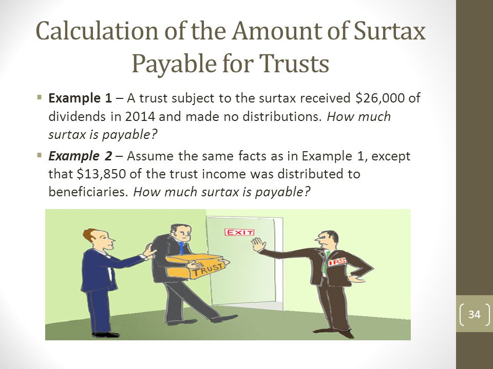 Calculation of the Amount of Surtax Payable for Trusts  Example 1 – A trust subject to the surtax received $26,000 of dividends in 2014 and made no distributions.