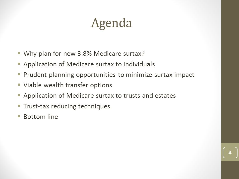 Agenda  Why plan for new 3.8% Medicare surtax.