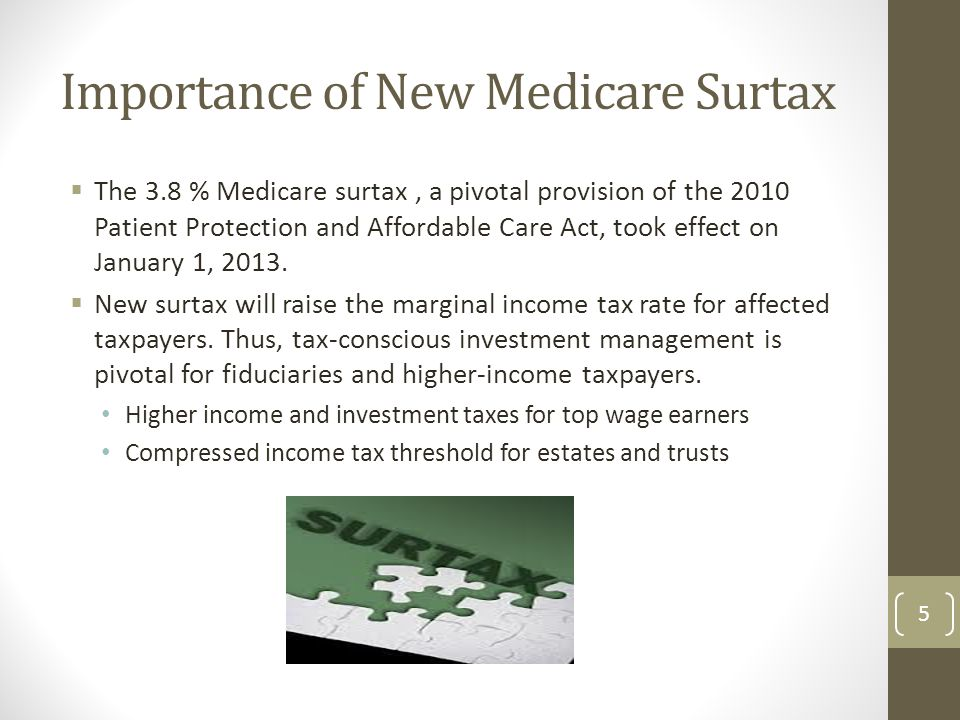 Importance of New Medicare Surtax  The 3.8 % Medicare surtax, a pivotal provision of the 2010 Patient Protection and Affordable Care Act, took effect on January 1, 2013.